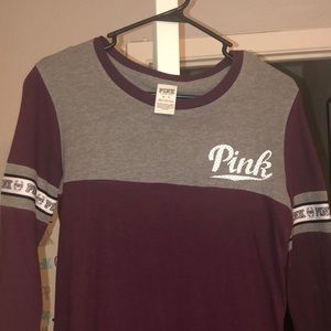 VS PINK maroon and gray mid sleeve tee